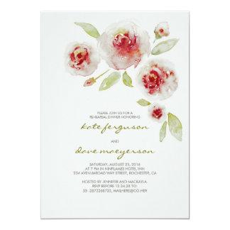 Jantar de ensaio floral da aguarela do vintage convite 12.7 x 17.78cm