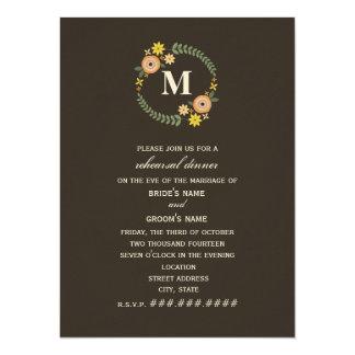 Jantar de ensaio floral da queda do monograma da convite