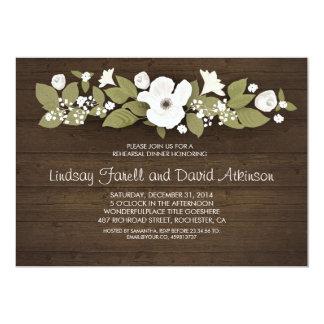 jantar de ensaio floral de madeira rústico convite 12.7 x 17.78cm