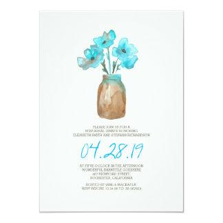 JANTAR DE ENSAIO floral de turquesa da aguarela Convite 12.7 X 17.78cm