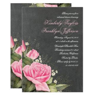 Jantar de ensaio floral do quadro cor-de-rosa do convite 12.7 x 17.78cm