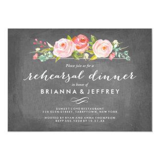 Jantar de ensaio floral do quadro do jardim de convite 12.7 x 17.78cm