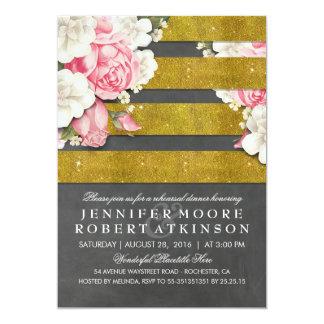 Jantar de ensaio floral do quadro do ouro do convite 12.7 x 17.78cm