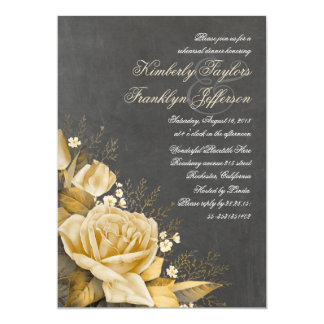 Jantar de ensaio floral do quadro do vintage do convite 12.7 x 17.78cm