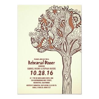 Jantar de ensaio floral dos ramos da árvore convite 12.7 x 17.78cm