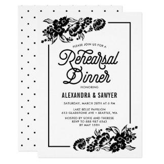 Jantar de ensaio floral moderno preto e branco convite 12.7 x 17.78cm