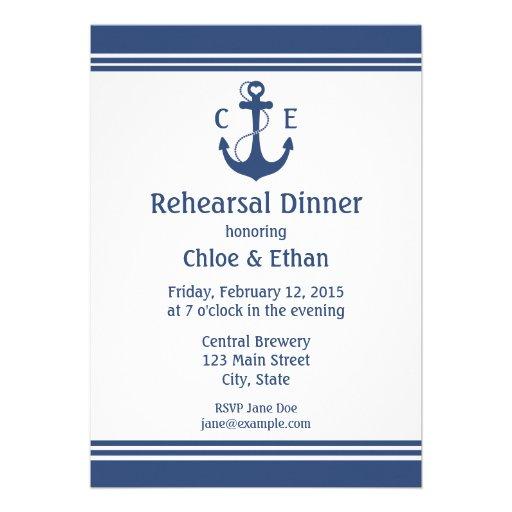 Jantar de ensaio náutico convites personalizado