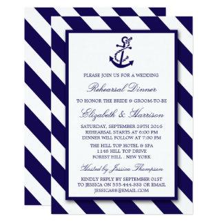 Jantar de ensaio náutico da âncora dos azuis convite 12.7 x 17.78cm