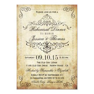 Jantar de ensaio ornamentado do casamento vintage convite 12.7 x 17.78cm