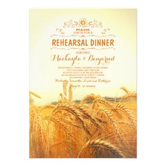 jantar de ensaio rústico amarelo do vintage do convite 12.27 x 17.78cm