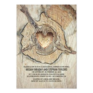 Jantar de ensaio rústico cinzelado da árvore do convite 12.7 x 17.78cm