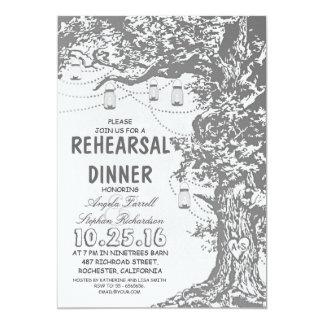 Jantar de ensaio rústico dos frascos da árvore & convite personalizados