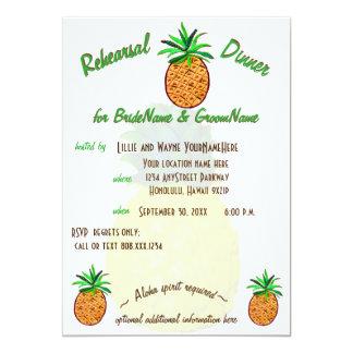 Jantar de ensaio tropical de Havaí do abacaxi Convite 12.7 X 17.78cm