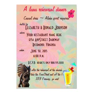 Jantar de ensaio tropical de Luau Convite Personalizado