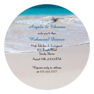 Jantar de ensaio tropical do casamento de praia convite quadrado 13.35 x 13.35cm