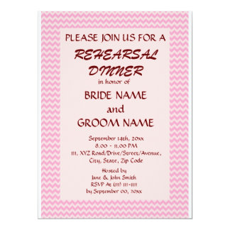 Jantar de ensaio - ziguezague cor-de-rosa, fundo convite