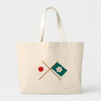 Japão e bandeiras cruzadas saga bolsas de lona