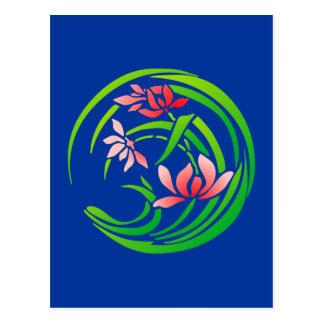 Japão modelo de flor flower pattern cartão postal