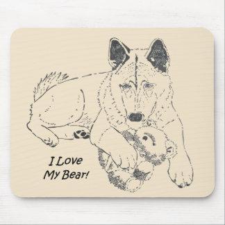 Japonês bonito akita com arte do desenho do urso mousepad