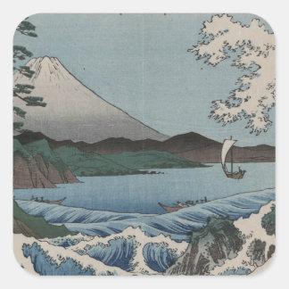 Japonês do vintage o mar de Satta Adesivos Quadrados