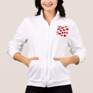 Jaqueta Amor vermelho pintado teste padrão do coração da