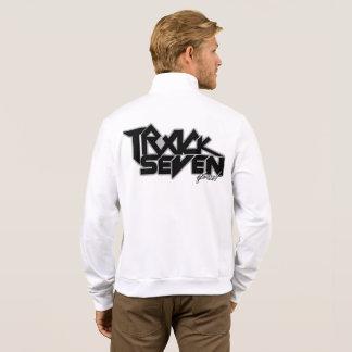 Jaqueta Branco feche acima o fecho de correr do velo da