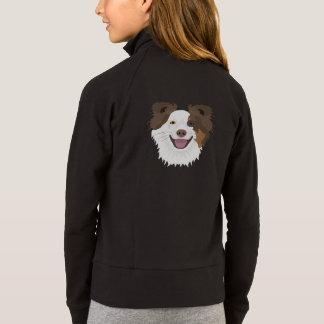 Jaqueta Cara feliz border collie dos cães da ilustração
