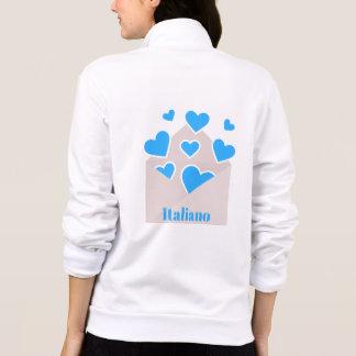 Jaqueta Cheio do envelope dos corações que amam o italiano
