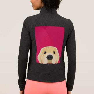 Jaqueta Ilustração Retriver dourado com fundo cor-de-rosa