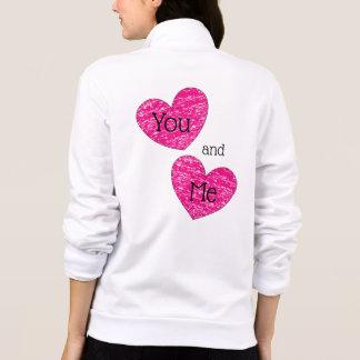 Jaqueta Você e mim design cor-de-rosa bonito dos corações