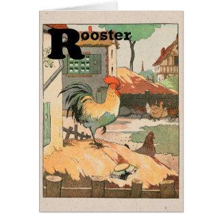 Jarda de fazenda do galo cartão comemorativo