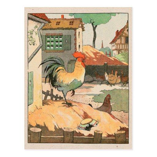 Jarda de fazenda do galo cartão postal