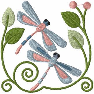 Jardim da libélula moletom com capuz e ziper bordado feminino