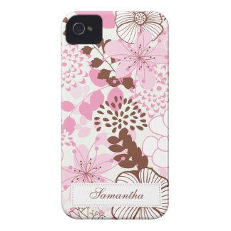 Jardim de Brown e de primavera do rosa Capas Para iPhone 4 Case-Mate