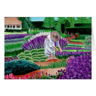 Jardim de cartões de nota da pintura das belas