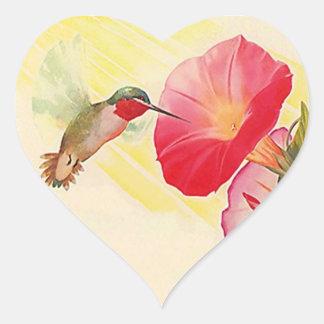 Jardim de flores Throated do colibri do rubi da Adesivo Coração