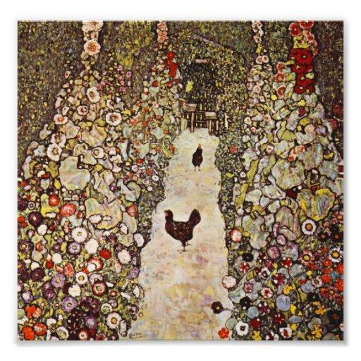 Jardim de Klimt com impressão dos galos Foto Arte