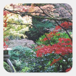 Jardim japonês adesivo quadrado