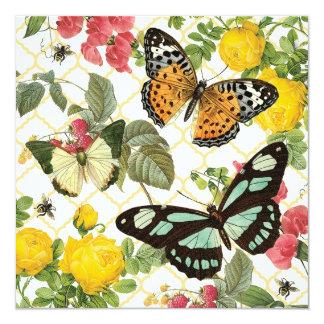 jardim moderno da borboleta do vintage convite quadrado 13.35 x 13.35cm