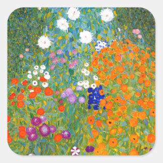 Jardim pelo vintage de Gustavo Klimt floral Adesivo Quadrado