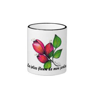 Jardin de Les jolies fleurs de segunda-feira! Caneca Com Contorno