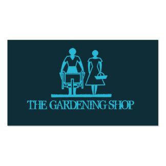 Jardinagem azul cartões de visita