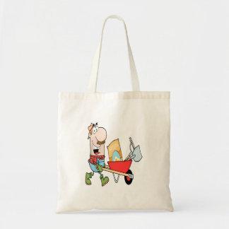 jardineiro de jardinagem do homem feliz dos desenh bolsas para compras