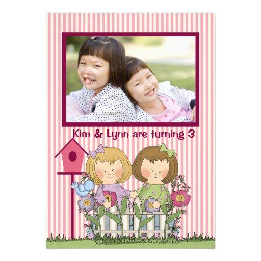 Jardineiro gêmeos pequenos - festa de aniversário  convites personalizado