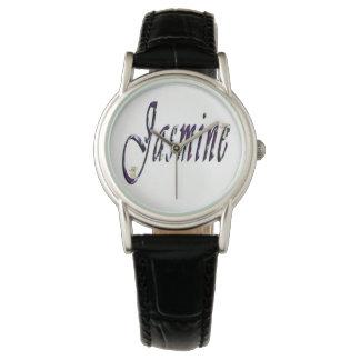 Jasmim, nome, logotipo, relógio de couro preto das