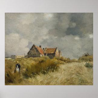 Jean Charles Cazin - casa de campo nas dunas Pôster