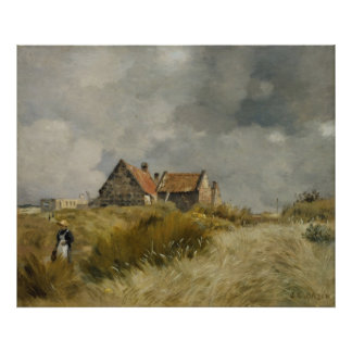 Jean Charles Cazin - casa de campo nas dunas Poster