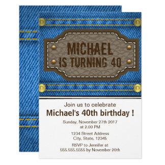 Jeans azuis da sarja de Nimes com festa de Convite 8.89 X 12.7cm