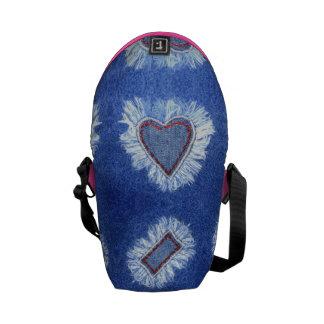 jeans bordados teste padrão do coração bolsas mensageiro