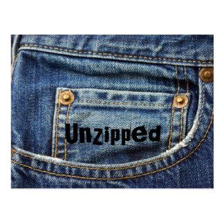 Jeans, cartão Unzipped Cartão Postal